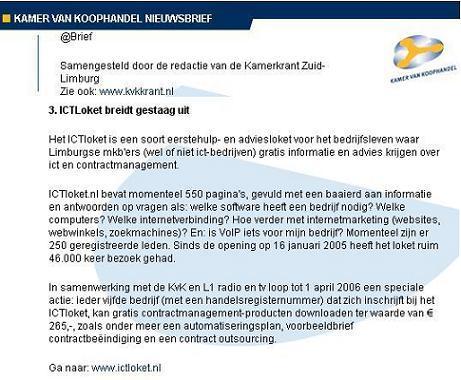 voorbeeldbrief samenwerking bedrijven Bron: Kamer van Koophandel @brief 25 januari 2006 | ICTLoket.nl voorbeeldbrief samenwerking bedrijven